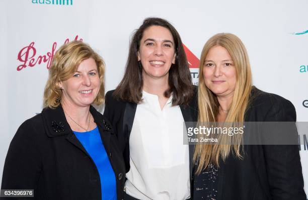 Writer Liane Moriarty Australian ConsulGeneral Ms Chelsey Martin and executive producer Bruna Papandrea attend a screening of 'Big Little Lies'...