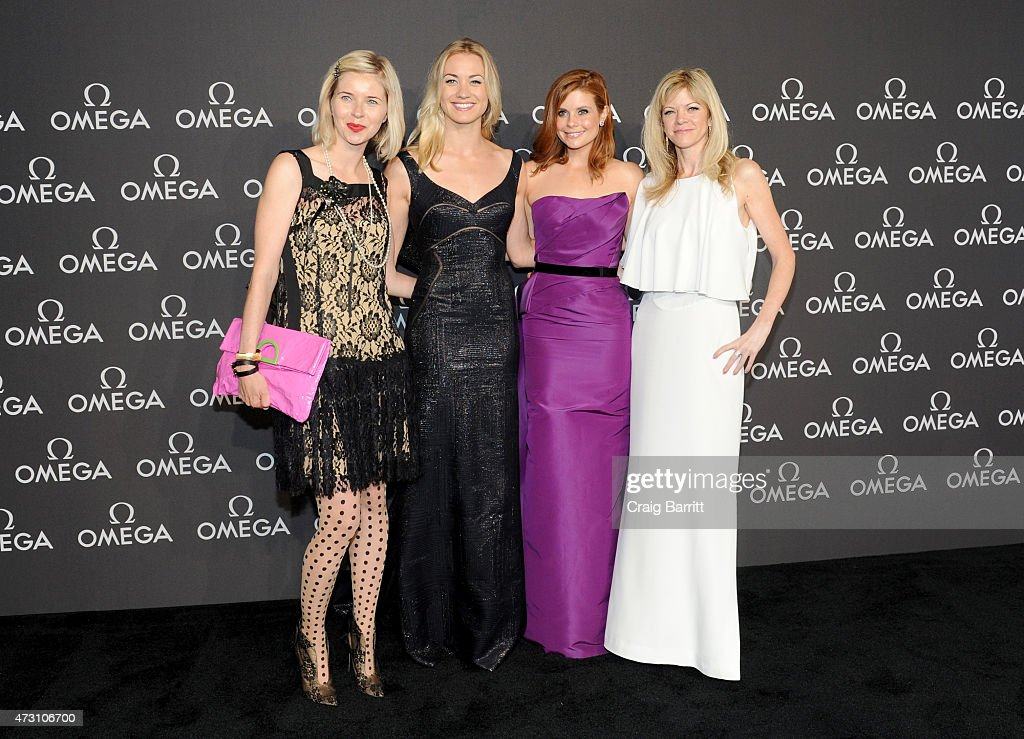 Writer Lily Koppel, actresses Yvonne Strahovski and Joanna Garcia, and executive producer Stephanie Savage attend the OMEGA Speedmaster Houston Event at Western Airways Airport Hangar on May 12, 2015 in Sugar Land, Texas.