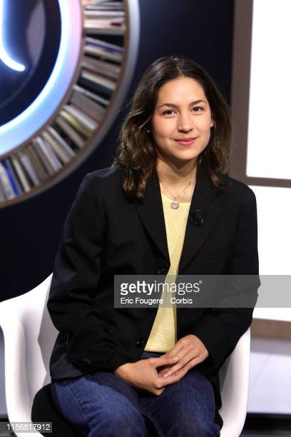 Writer Line Papin poses during Tv talk show La Grande Librairie on France 5 presented by Francois Busnel in Paris France on