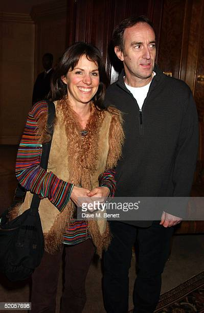 Writer Lise Mayer and partner actor Angus Deayton arrive at the Celebrity Screening for film Meet The Fockers at the Covent Garden Hotel on January...