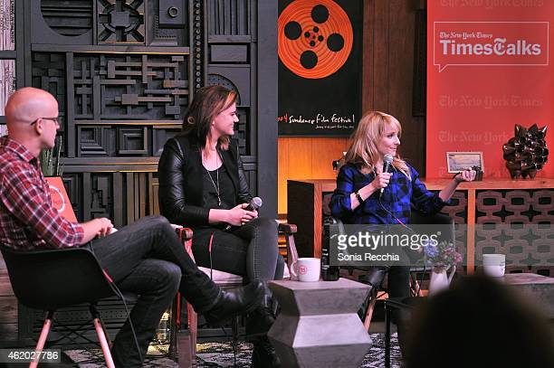 Writer Logan Hill director Leslye Headland and actress Melissa Rauch speak onstage at the Cinema Cafe during the 2015 Sundance Film Festival at...