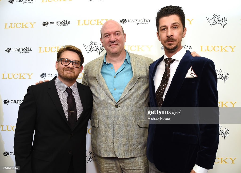 Writer Logan Sparks, director John Carroll Lynch and writer Drago Sumonja attend the Los Angeles premiere of 'Lucky' at Linwood Dunn Theater on September 26, 2017 in Los Angeles, California.