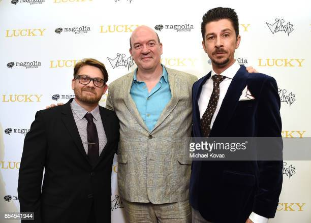 Writer Logan Sparks director John Carroll Lynch and writer Drago Sumonja attend the Los Angeles premiere of 'Lucky' at Linwood Dunn Theater on...