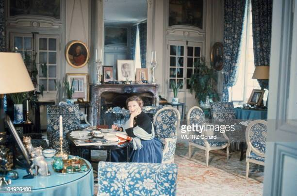 Writer Louise de Vilmorin is photographed for Paris Match in the blue living room of her residence of VerrieresLeBuisson in 1969 in France