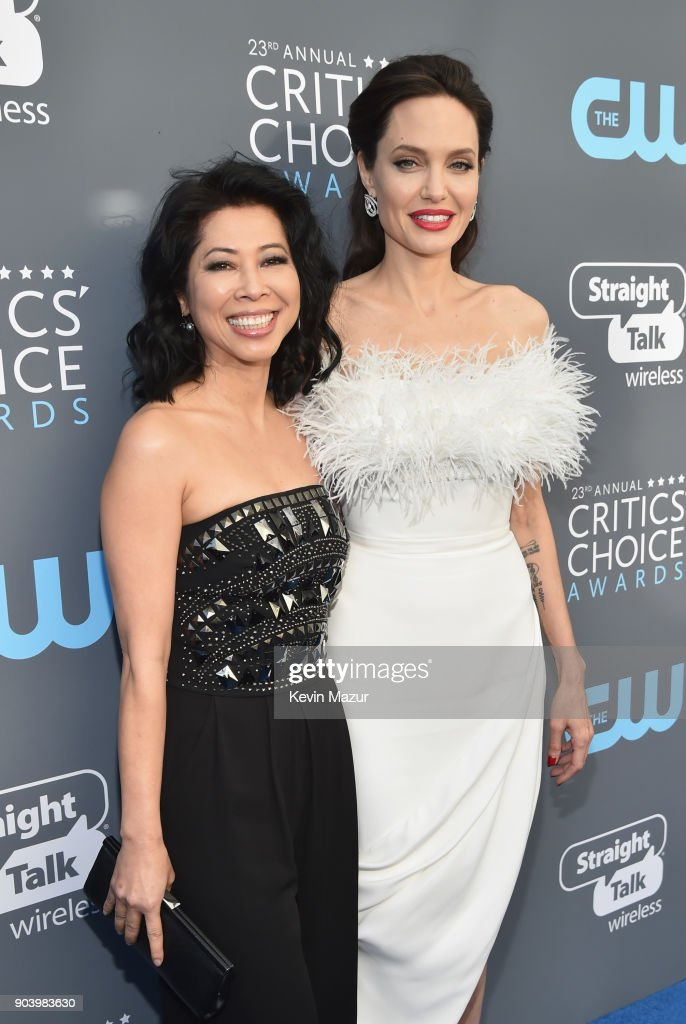 Writer Loung Ung (L) and actor-director Angelina Jolie attend The 23rd Annual Critics' Choice Awards at Barker Hangar on January 11, 2018 in Santa Monica, California.