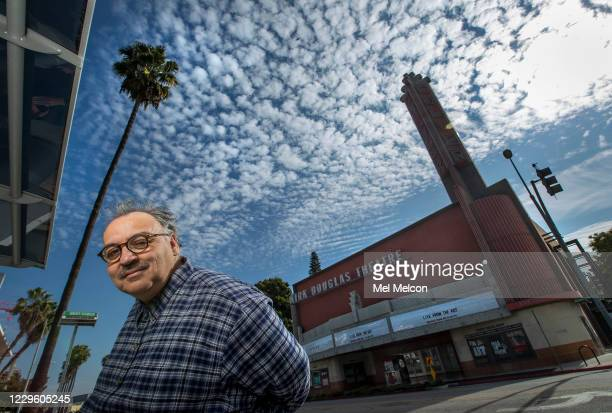 Writer Luis Alfaro is photographed in front of the Kirk Douglas Theatre in Culver City In an effort to adapt live theater for the COVID era Center...
