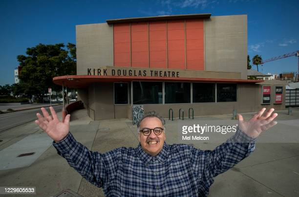 Writer Luis Alfaro is photographed outside the Kirk Douglas Theatre in Culver City In an effort to adapt live theater for the COVID era Center...