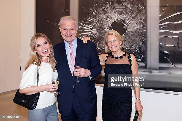 Writer Malene Rydahl Alain Flammarion and Suzanna Flammarion attend the Robert Longo Exhibition at Galerie Thaddeus Ropac on April 15 2016 in Paris...