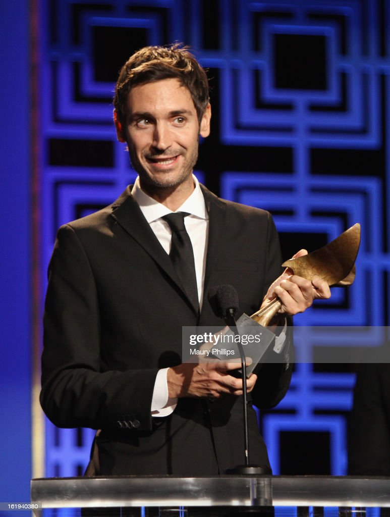 Writer Malik Bendjelloul accepts the Writers Guild Award for Documentary Screenplay onstage during the 2013 WGAw Writers Guild Awards at JW Marriott Los Angeles at L.A. LIVE on February 17, 2013 in Los Angeles, California.