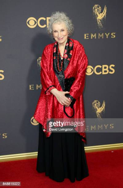 Writer Margaret Atwood attends the 69th Annual Primetime Emmy Awards Arrivals at Microsoft Theater on September 17 2017 in Los Angeles California