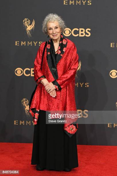 Writer Margaret Atwood author of 'The Handmaid's Tale' which was adapted into the show that won the award for Outstanding Drama Series poses in the...