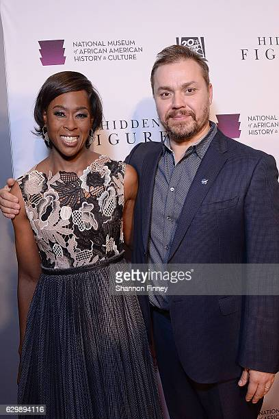 Writer Margot Lee Shetterly author of the book Hidden Figures and Theodore Melfi director of the film Hidden Figures attends a special screening of...