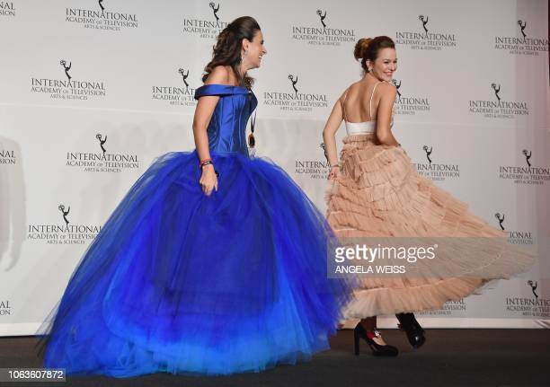 Writer Maria Joao Costa and Portuguese actress Joana De Verona won the Telenovela Award for 'Ouro Verde' during the 46th International Emmy awards...