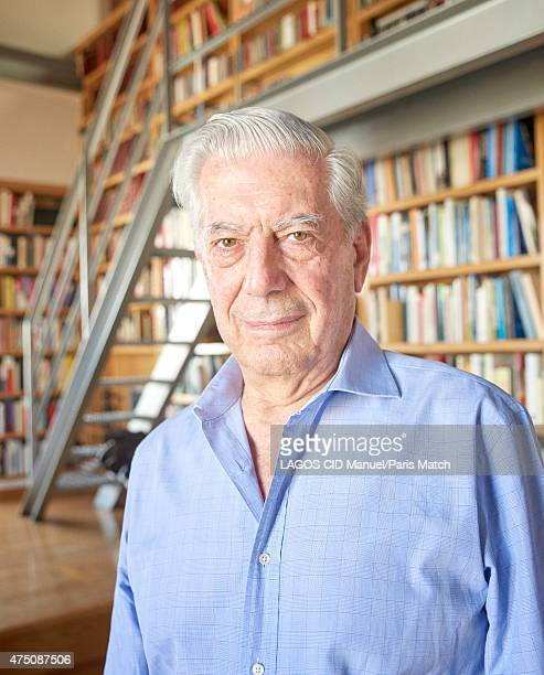 Writer Mario Vargas Llosa is photographed at his home for Paris Match on May 11 2015 in Madrid Spain