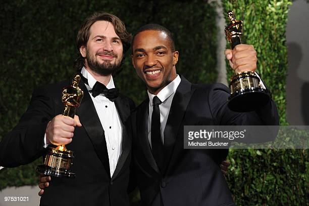 Writer Mark Boal and actor Anthony Mackie arrive at the 2010 Vanity Fair Oscar Party hosted by Graydon Carter held at Sunset Tower on March 7 2010 in...
