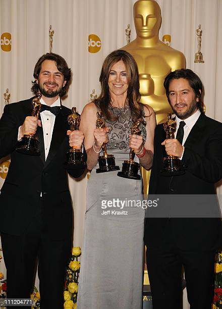 Writer Mark Boal director Kathryn Bigelow and producer Greg Shapiro pose in the press room at the 82nd Annual Academy Awards held at Kodak Theatre on...