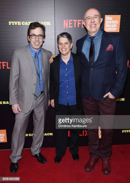 Writer Mark Harris Lesli Klainberg and director Laurent Bouzereau attend the Five Came Back world premiere at Alice Tully Hall at Lincoln Center on...