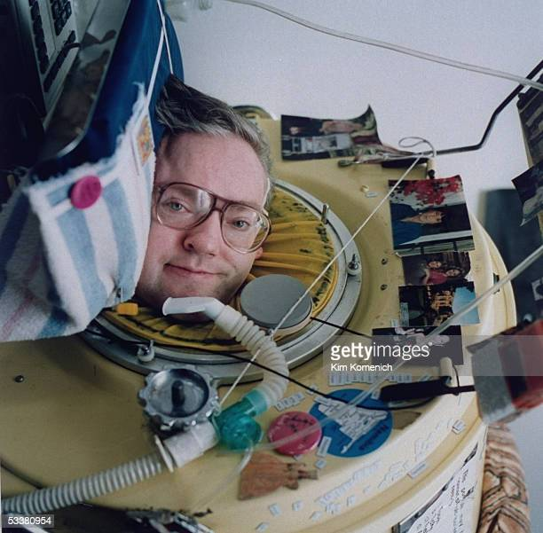 Writer Mark O'Brien encased in his iron lung which he has spent 23 hours of each day in since he was afflicted with polio at age 6