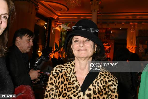 Writer Martine Dassault attends Marc Cerrone Exhibition Preview at Deux Magots a on March 12 2018 in Paris France