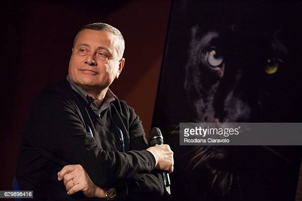 Writer Massimo Carlotto during the presenation of his novel 'Il Turista' at the Noir In Festival on December 14 2016 in Milan Italy