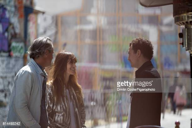 Writer Mathieu Terence model Caroline de Maigret and writer Boris Bergmann are photographed for Madame Figaro on May 10 2017 in Paris France Terence...
