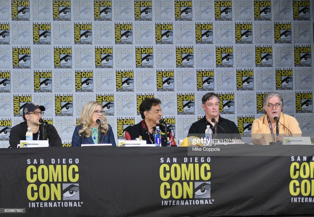 Writer Matt Selman, actors Nancy Cartwright and Joe Mantegna, producer Al Jean, and writer/producer Matt Groening attend 'The Simpsons' panel during Comic-Con International 2017 at San Diego Convention Center on July 22, 2017 in San Diego, California.