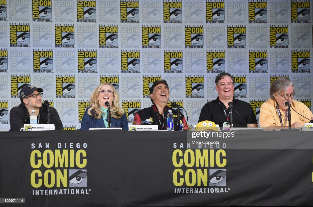 Writer Matt Selman, actors Nancy Cartwright and Joe Mantegna, producer Al Jean and writer/producer Matt Groening attend 'The Simpsons' panel during Comic-Con International 2017 at San Diego Convention Center on July 22, 2017 in San Diego, California.