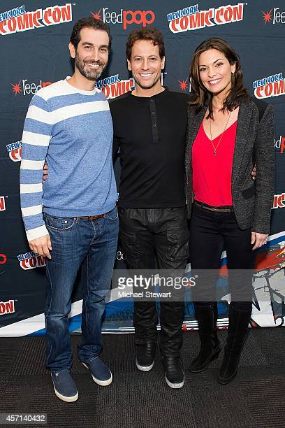 Writer Matthew Miller actor Ioan Gruffudd and actress Alana De La Garza attend ABC Network's 'Forever' press room at 2014 New York Comic Con Day 4 at...