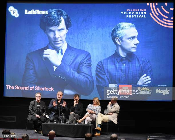 Writer Matthew Sweet composer David Arnold composer Michael Price producer Sue Vertue and actor Mark Gatiss attend a panel discussion about 'The...