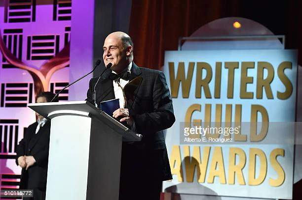 Writer Matthew Weiner accepts the award for Best Drama Series for 'Mad Men' onstage during the 2016 Writers Guild Awards at the Hyatt Regency Century...