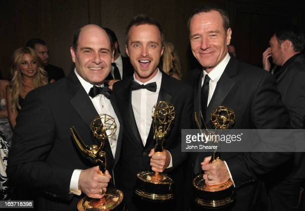 Writer Matthew Weiner, actor Aaron Paul, and actor Bryan Cranston attend the AMC After Party for the 62nd Annual EMMY Awards at Soho House on August...