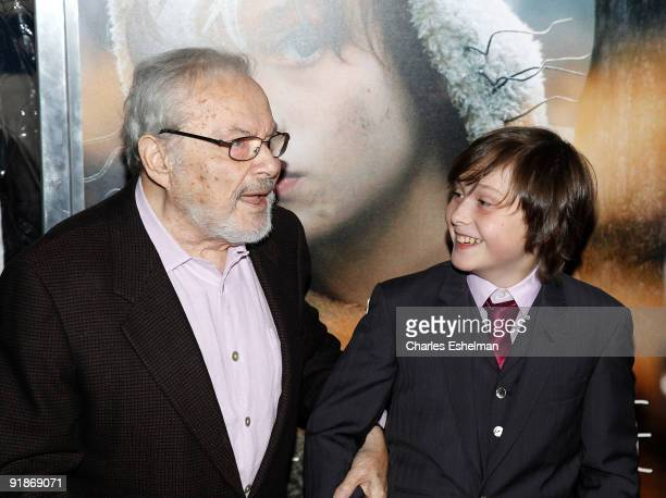 Writer Maurice Sendak and actor Max Records attend the 'Where The Wild Things Are' premiere at Alice Tully Hall on October 13 2009 in New York City