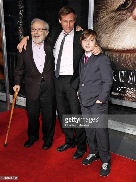 Writer Maurice Sendak director Spike Jonze and actor Max Records attend the 'Where The Wild Things Are' premiere at Alice Tully Hall on October 13...