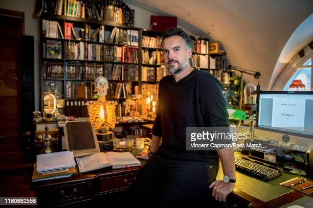 Writer Maxime Chattam is photographed for Paris Match at his office on October 9 2019 in Lamorlaye Le Lys France