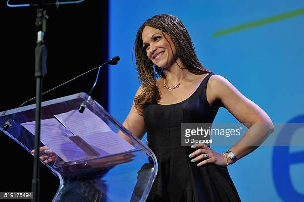 Writer Melissa HarrisPerry speaks onstage at PFLAG National's eighth annual Straight for Equality awards gala at Marriot Marquis on April 4 2016 in...