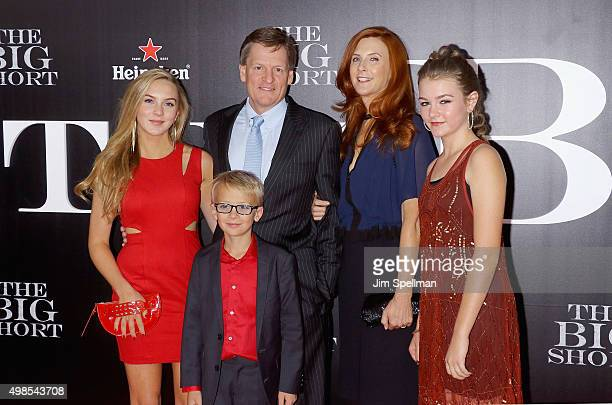 Writer Michael Lewis and family attend the 'The Big Short' New York premiere at Ziegfeld Theater on November 23 2015 in New York City
