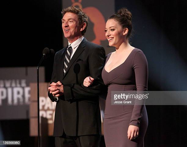Writer Michael Patrick King and actress Kat Dennings attend the 2012 Writers Guild Awards at the Hollywood Palladium on February 19 2012 in Los...