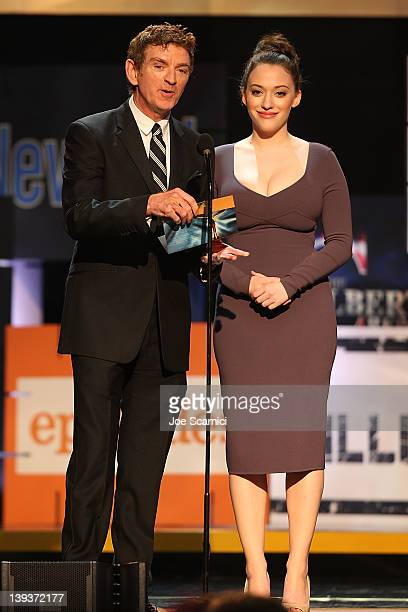 Writer Michael Patrick King and actress Kat Dennings attend the 2012 Writers Guild Awards at Hollywood Palladium on February 19 2012 in Hollywood...