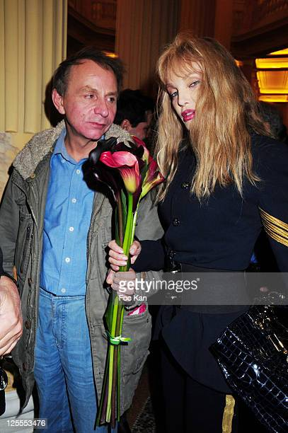Writer Michel Houellebecq and actress Arielle Dombasle attend the Flammarion Celebrates Michel Houellebecq Goncourt Award at the Theatre de l'Odeon...