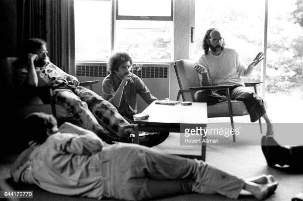 Writer Mike Goodwin disc jockey Wesley 'Scoop' Nisker and news DJ Larry Bensky sit around during The Alternative Media Conference on June 1720 1970...