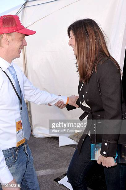 Writer Mike White and actress Catherine Keener winner of the Robert Altman award for 'Please Give' attend the 2011 Film Independent Spirit Awards at...