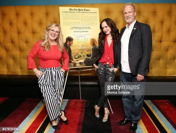 Writer Nancy Cartwright actress Ksenia Solo and writer Peter Kjenaas attend the In Search Of Fellini screening and QA at City Cinemas Village East on...