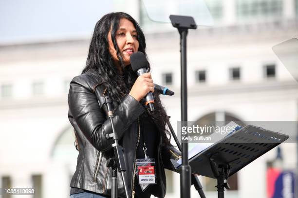 Writer Natasha Singh speaks onstage at the Women's March San Francisco in Civic Center Plaza on January 19 2019 in San Francisco California