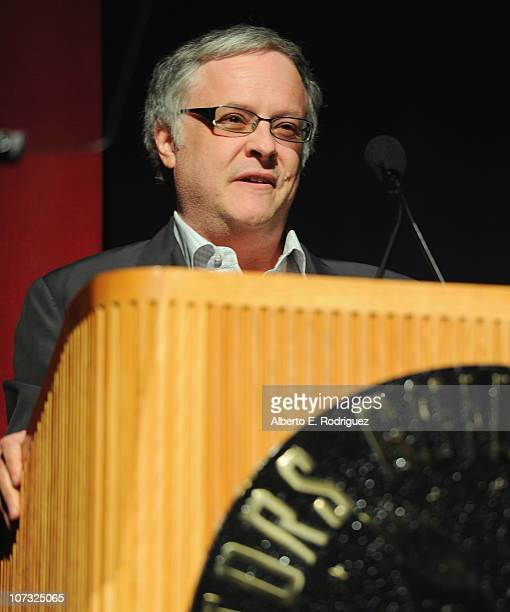 Writer Neal Baer speaks at the International Documentary Association's 26th annual awards ceremony at the Directors Guild Of America on December 3...