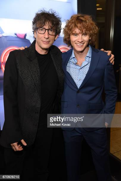 Writer Neil Gaiman and actor Bruce Langley attend the American Gods premiere at ArcLight Hollywood on April 20 2017 in Los Angeles California
