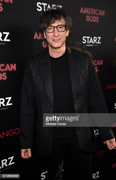 Writer Neil Gaiman attends the American Gods premiere at ArcLight Hollywood on April 20 2017 in Los Angeles California
