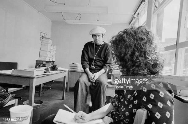 Writer Neil Innes in a script conference for BBC television show 'Monty Python's Flying Circus' 1974