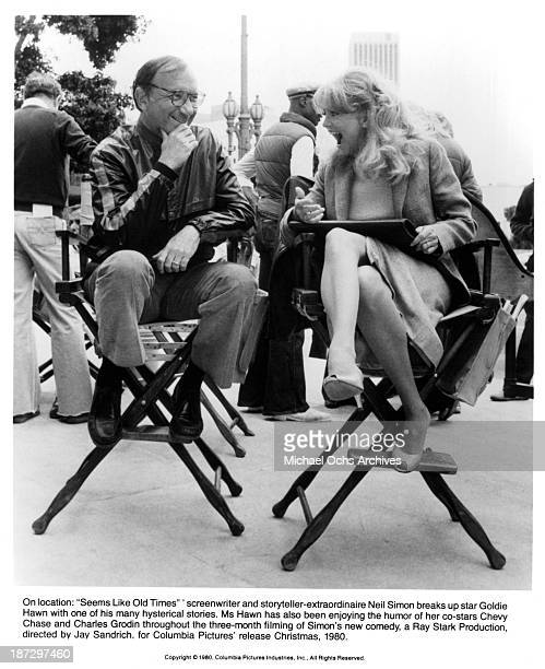 Writer Neil Simon and actress Goldie Hawn behind the scenes on set of the Columbia Pictures movie Seems Like Old Times in 1980