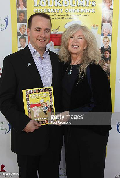 Writer Nick Katsoris and actress Connie Stevens attend Loukoumi's Celebrity Cookbook Los Angeles Premiere Party at Treehouse Social Club on December...