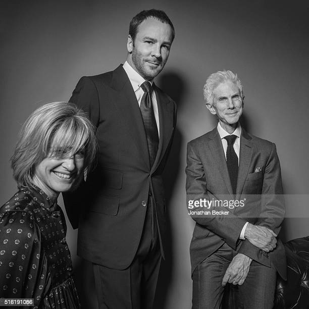 Writer Nicola Formby fashion designer Tom Ford and journalist Richard Buckley are photographed at the Charles Finch and Chanel's PreBAFTA on February...